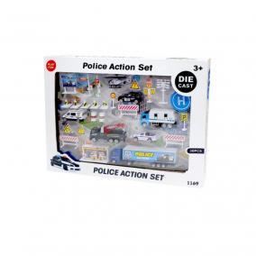 Nagy rendőrségi játékszett fém járművekkel és kiegészítőkkel (Die Cast 30 darabos)