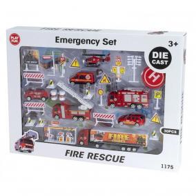 Nagy tűzoltó játékszett fém járművekkel és kiegészítőkkel (Die Cast 30 darabos)