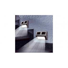 Kültéri napelemes lámpa, falra szerelhető, ezüst [4db]