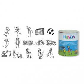 Nyomda 15/klt HEYDA gyermekeknek + fekete bély. párna Focis/Építős