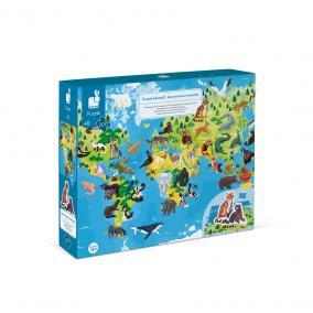 Oktató Puzzle és 3D figurák 200 darabos Veszélyeztett állatok 02676 Janod