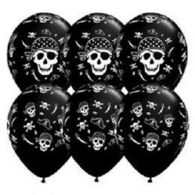 Pirate Skull - koponyás kalózos onyx black lufi 11 inch-es 6 db