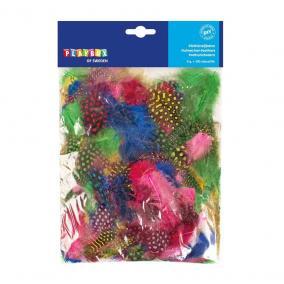 Playbox Színes gyöngytyúk tollak, 5-10 cm, 100 db