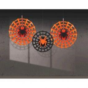 Pók Hálóban Legyező Függő Dekoráció Halloweenre - 3 db-os