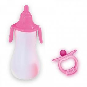 Rózsaszín - fehér cumisüveg és rózsaszín cumi játékbabáknak