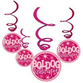 Rózsaszín Lányos Szülinapi Parti Függődekoráció, 6 db-os