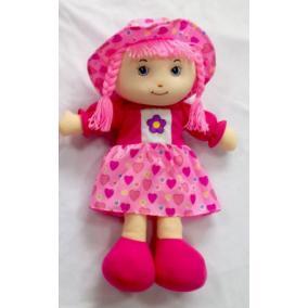 Rózsaszínű ruhás rongybaba, 40 cm