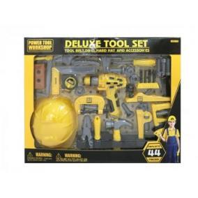 Deluxe 44 db-os játék szerszám készlet, sárga/szürke