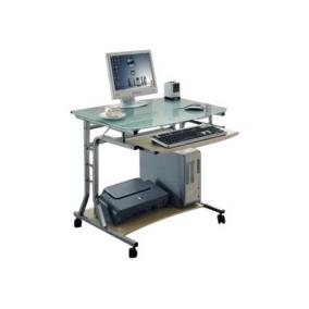 TECHLY Compact Desk for PC Metal Glass with Wheels