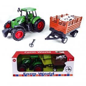 Traktor állatszállító utánfutóval 42 cm