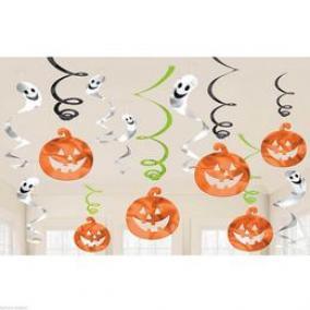 Vidám, Színes Spirális Halloween Dekoráció, 12 db-os