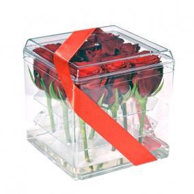 Virágbox 3x3 műanyag 14x14cm átlátszó