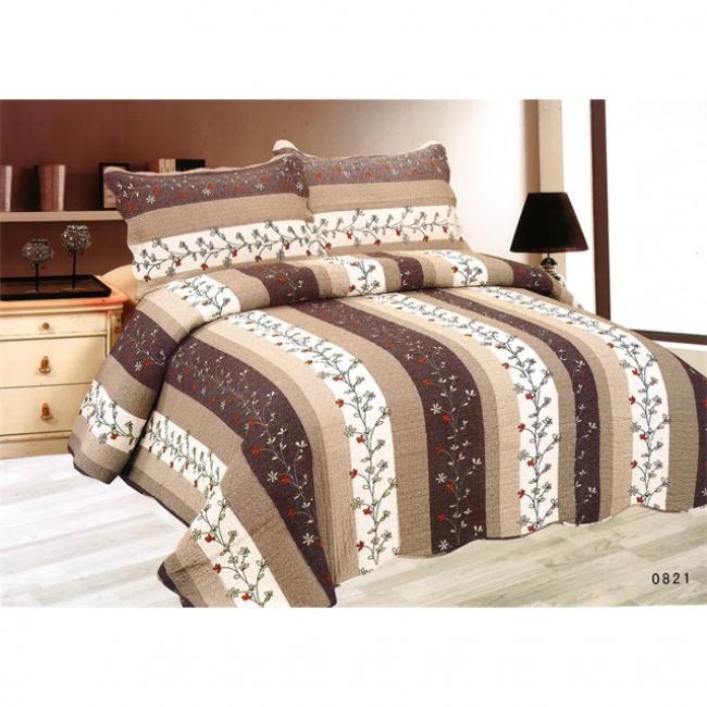 97813260f0 Ágytakaró 2db díszpárna huzattal textil 230x250cm, 50x70cm szürke, barna,  fehér csíkos [3