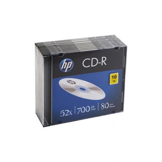 CD-R lemez, 700MB, 52x, vékony tok, HP [10 db]