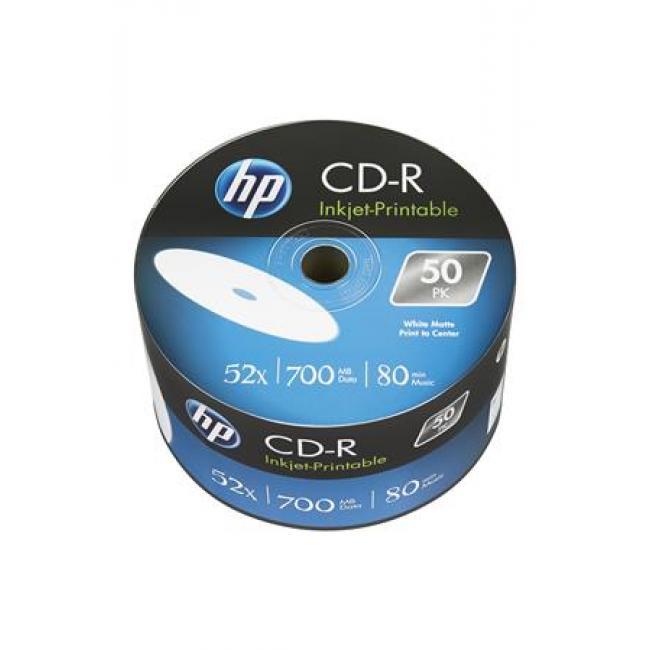 CD-R lemez, nyomtatható, 700MB, 52x, zsugor csomagolás, HP [50 db]