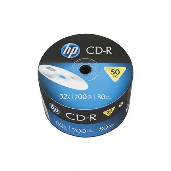 CD-R lemez, 700MB, 52x, zsugor csomagolás, HP [50 db]