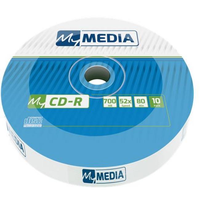 CD-R lemez, 700MB, 52x, zsugor csomagolás, MYMEDIA [10 db]
