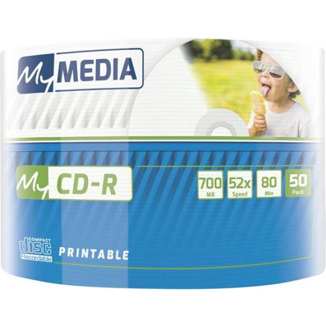 CD-R lemez, nyomtatható, 700MB, 52x, zsugor csomagolás, MYMEDIA [50 db]