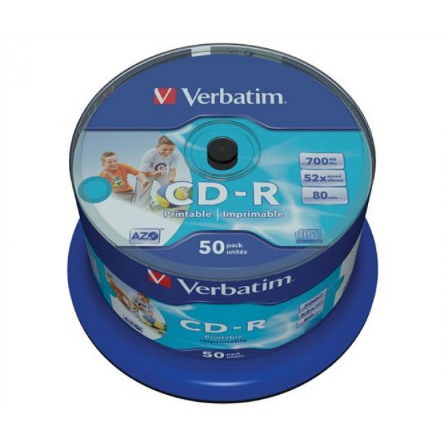 CD-R lemez, nyomtatható, matt, no-ID, AZO, 700MB, 52x, hengeren, VERBATIM [50 db]
