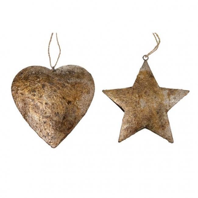 Csillag, szív akasztós fém 16x16x4 cm arany 2 féle