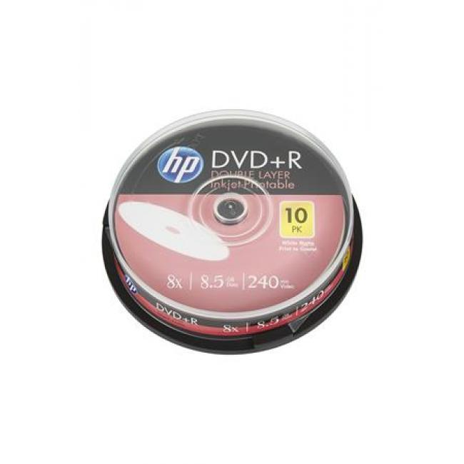 DVD+R lemez, nyomtatható, kétrétegű, 8,5GB, 8x, hengeren, HP [10 db]