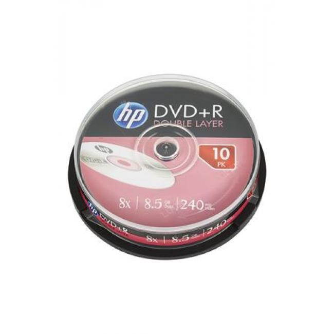 DVD+R lemez, kétrétegű, 8,5GB, 8x, hengeren, HP [10 db]