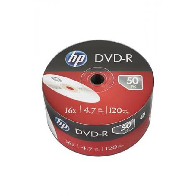 DVD-R lemez, 4,7 GB, 16x, zsugor csomagolás, HP [50 db]