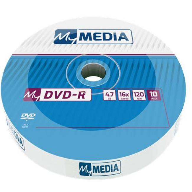 DVD-R lemez, 4,7 GB, 16x, zsugor csomagolás, MYMEDIA [10 db]