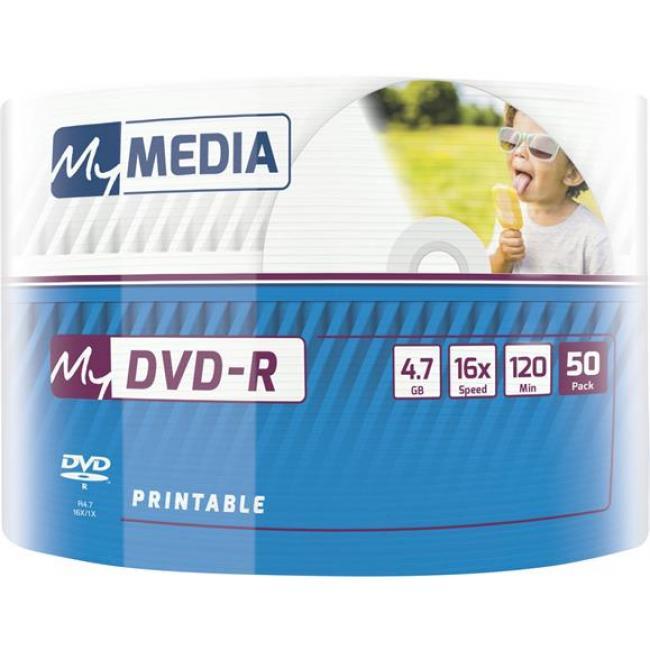 DVD-R lemez, nyomtatható, 4,7GB, 16x, zsugor csomagolás, MYMEDIA [50 db]