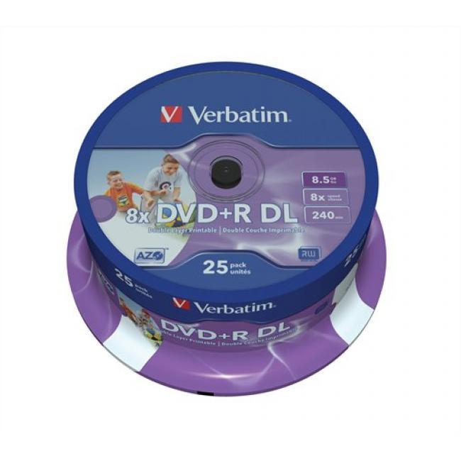 DVD+R lemez, kétrétegű, nyomtatható, no-ID, 8,5GB, 8x, hengeren, VERBATIM