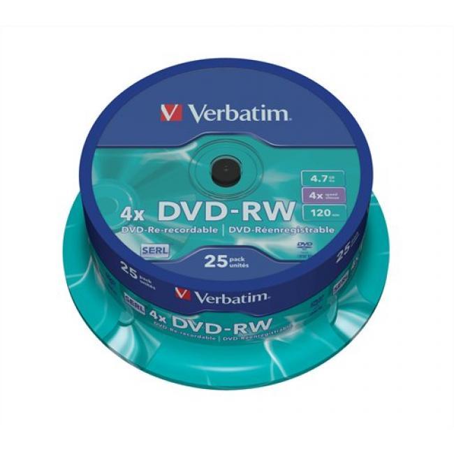 DVD-RW lemez, újraírható, 4,7GB, 4x, hengeren, VERBATIM [25 db]