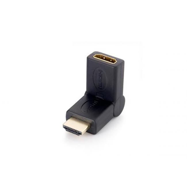 Adapter, HDMI-HDMI átalakító, 90°-ban hajlítható, EQUIP