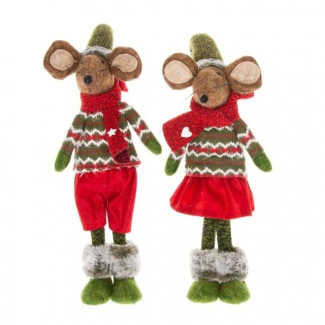 Egér fiú,lány álló textil 18cm x9,5cm x58cm bordó, zöld,barna 2 féle