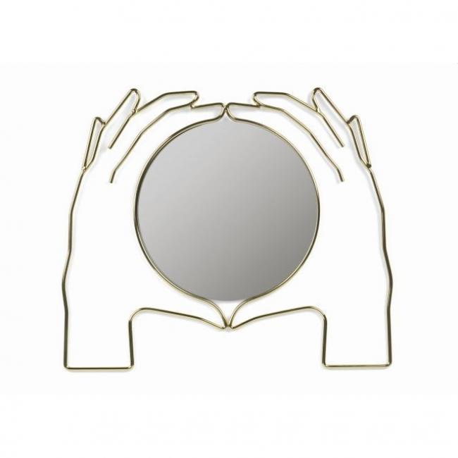 Fali tükör, Kéz formájú Xéria, fém-üveg 38x44x3cm arany