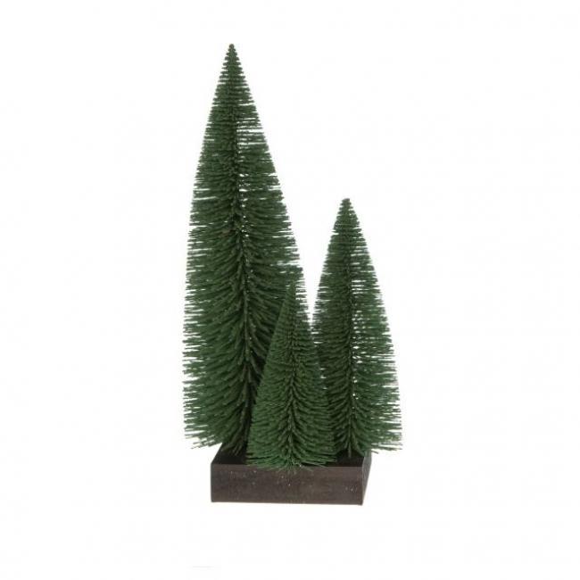 Fenyő 3db-os szögletes fa talpon műanyag 30,20,15cm havas