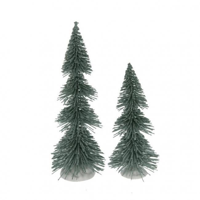 Fenyő dekoráció műanyag 20cm+14,5cm hamvas zöld [2 db]