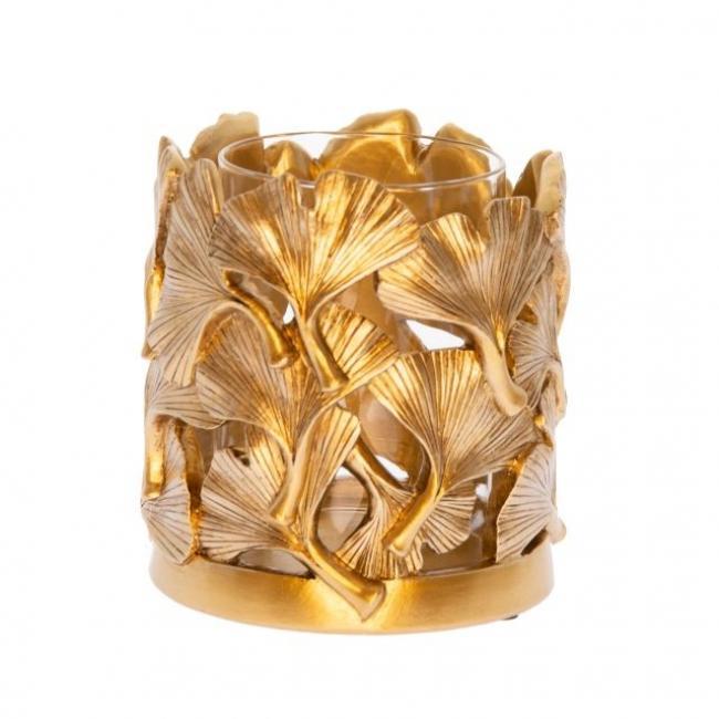Gingko mintázatú mécsestartó poly/üveg 11,8cm x11,8cm x12,3 cm arany