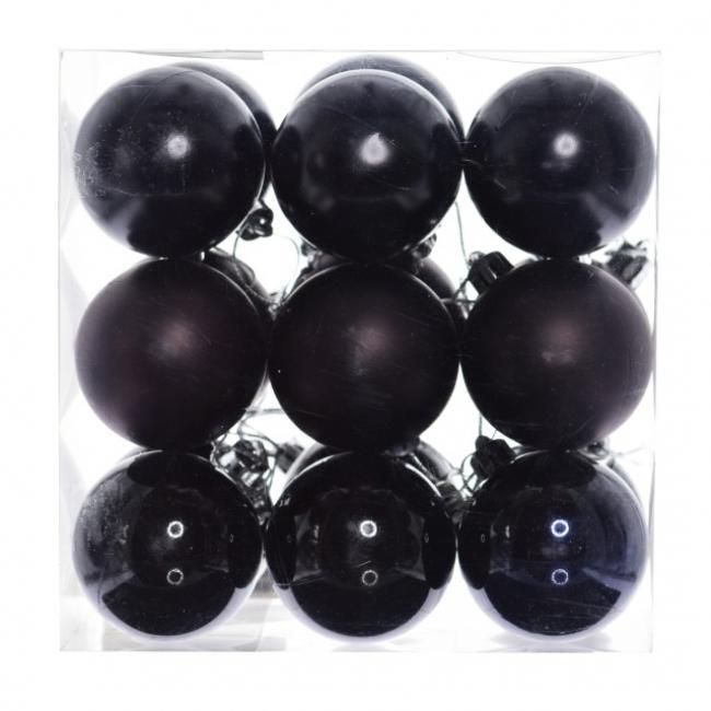 Gömb, dobozban műanyag 8cm fekete 3 féle [9 db]