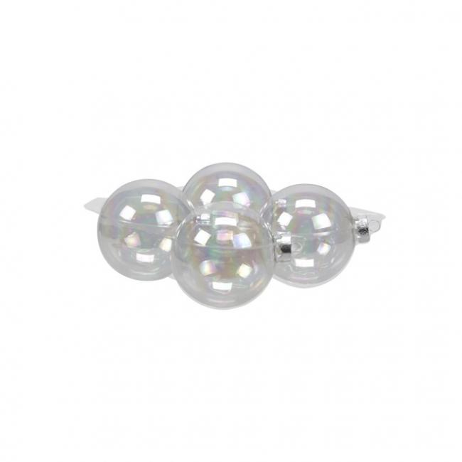 Gömb üveg 10cm átlátszó szivárványos [4 db]