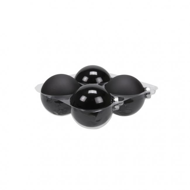 Gömb üveg 10cm fekete fényes-matt [4 db]