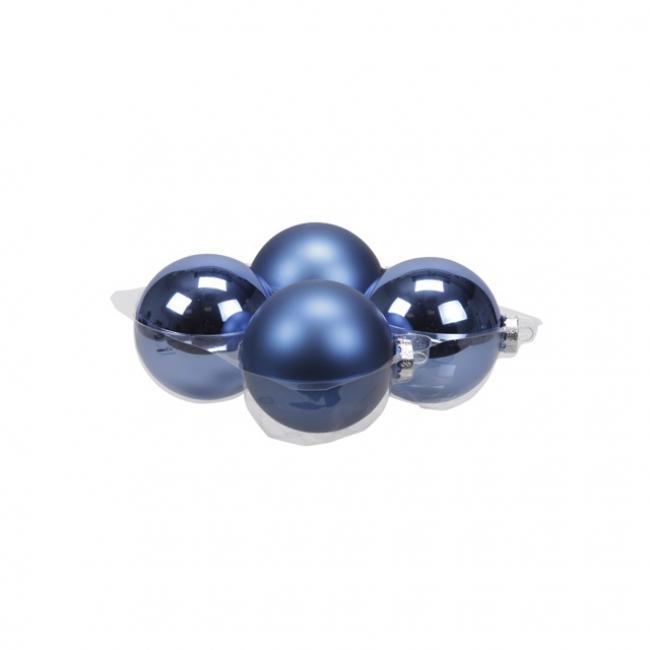 Gömb üveg 10cm kék fényes-matt [4 db]