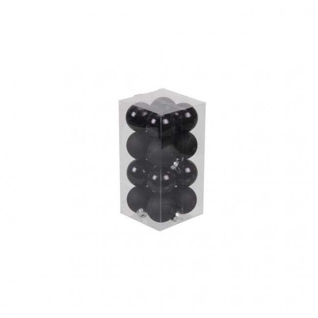 Gömb üveg 3,5cm fekete fényes-matt [16 db]