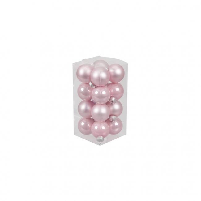 Gömb üveg 3,5cm rózsaszín fényes-matt [16 db]