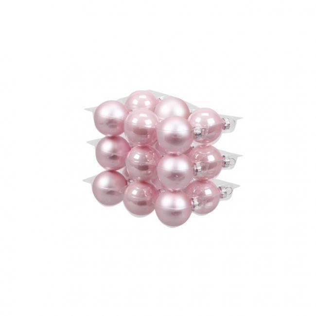 Gömb üveg 4cm rózsaszín fényes-matt [18 db]