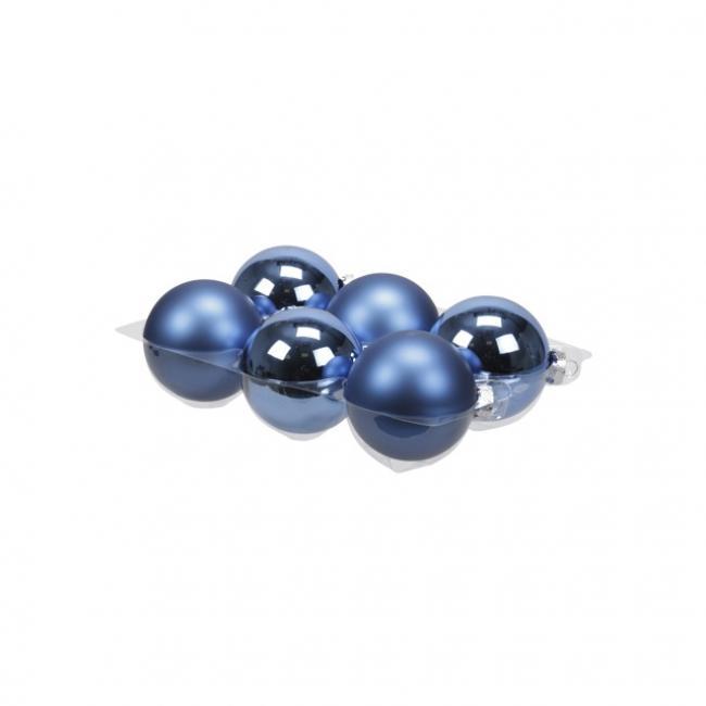 Gömb üveg 8cm kék fényes-matt [6 db]