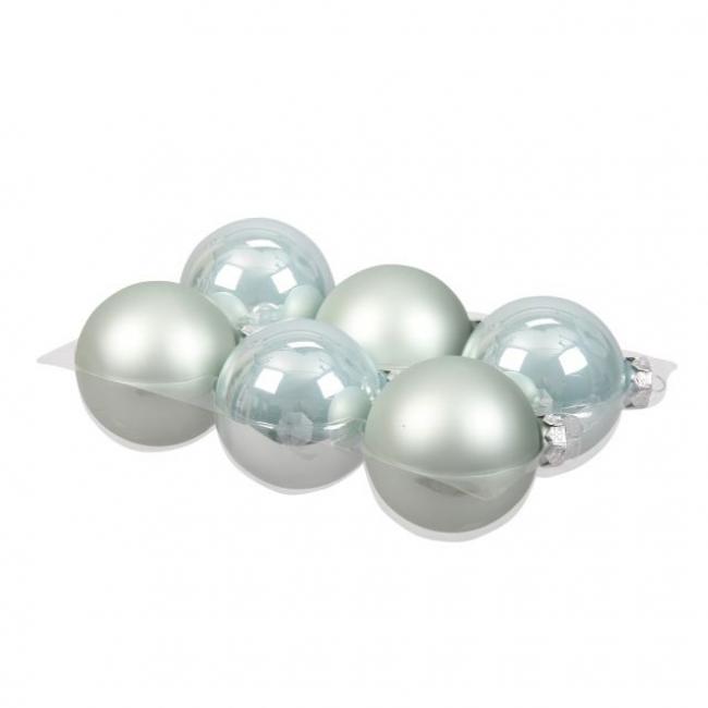 Gömb üveg 8cm vízkék fényes-matt [6 db]