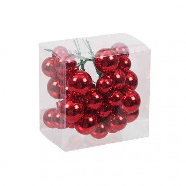 Gömb üveg betűzős 2/2,5/3cm piros fényes [6 db]