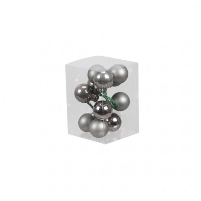 Gömb üveg betűzős 2,5cm grafit szürke fényes-matt [12 db]