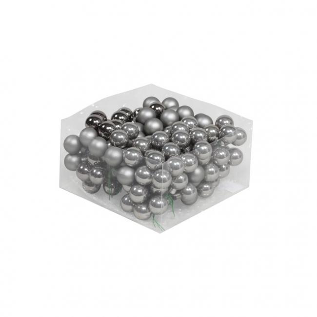 Gömb üveg betűzős 2,5cm grafit szürke fényes-matt [144 db]