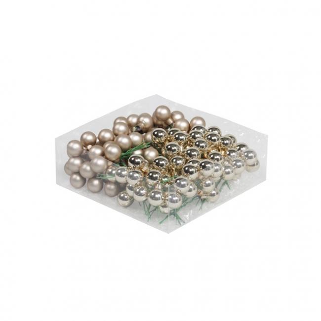Gömb üveg betűzős 2cm pezsgő fényes-matt [144 db]